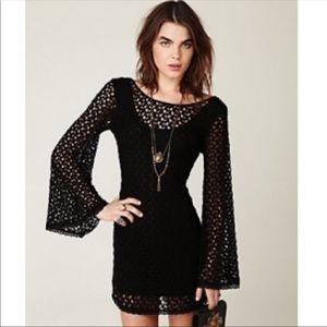 Free People Black Gypsy Lace Dress Size S